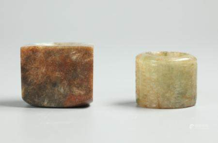 2 Chinese jade archer rings, possibly 19th c.