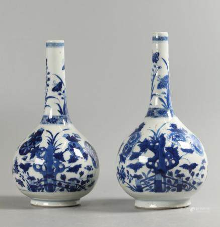 pair of Chinese blue & white porcelain vases, possibly 18th c.