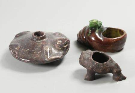 3 Chinese porcelain water pots, possibly 19th c.