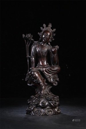 A Chinese Carved Hardwood Figure of Buddha