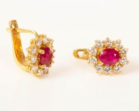 Gold Ruby & Diamonds Earrings