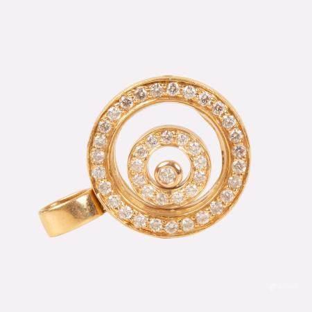Gold Medallion Chopard Style ' Happy Diamonds '