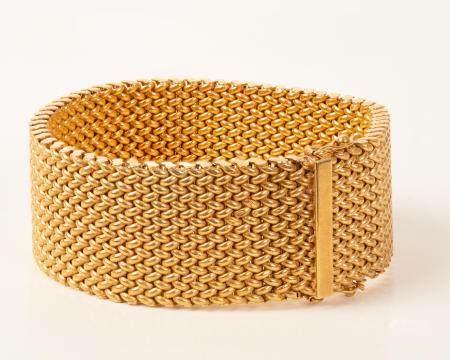18k Yellow Gold Mesh Bracelet High Quality Unisex