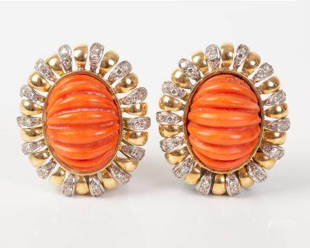 Gold Earrings Set with Diamonds and Coral Stones