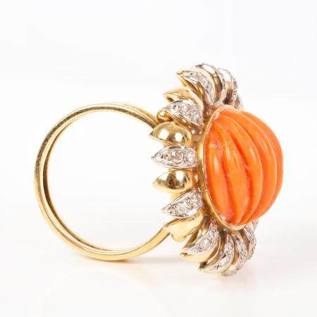 Gold Ring Set with Diamonds and Coral Stones - Set for