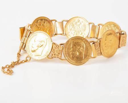 Russian Gold Bracelet - Ruble Coins