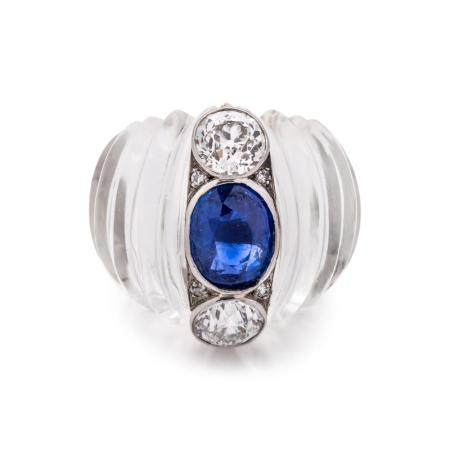 ROCK CRYSTAL, SAPPHIRE AND DIAMOND RING