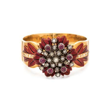 FRENCH, VICTORIAN, DIAMOND, RUBY AND ENAMEL BANGLE BRACELET