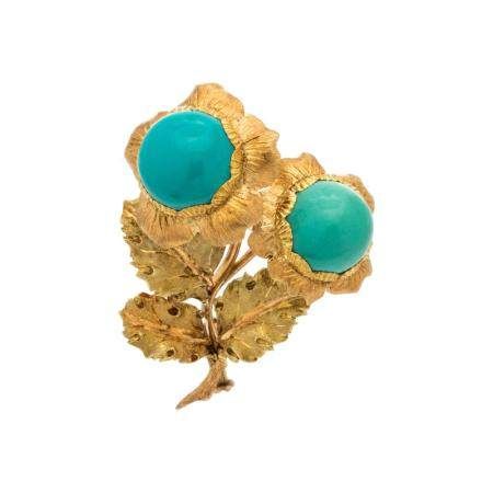 BUCCELLATI, YELLOW GOLD AND TURQUOISE FLOWER BROOCH