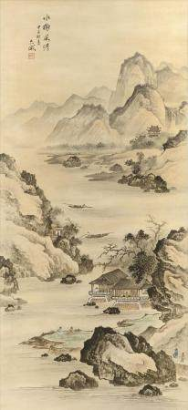 CHINESE SCROLL PAINTING ON SILK Depicts cottages along a riv