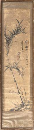 CHINESE PAINTING ON PAPER Depicts bamboo and calligraphy. Si