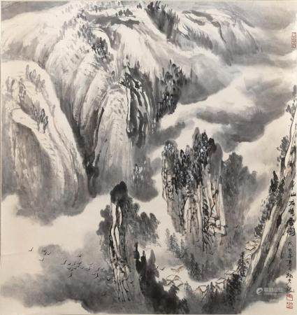 CHINESE SCROLL PAINTING ON PAPER Depicts birds in flight thr