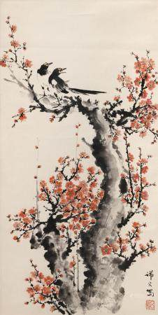 CHINESE SCROLL PAINTING ON PAPER Depicts magpies in a flower