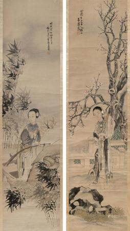 PAIR OF CHINESE SCROLL PAINTINGS ON PAPER BY TIEN SHAUPEN (A
