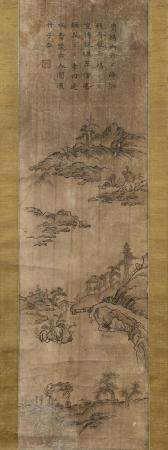 KOREAN SCROLL PAINTING ON PAPER Depicts islands, a bridge, a