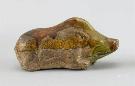 CHINESE SPINACH AND EGG GLAZE POTTERY FIGURE OF A RECLINING