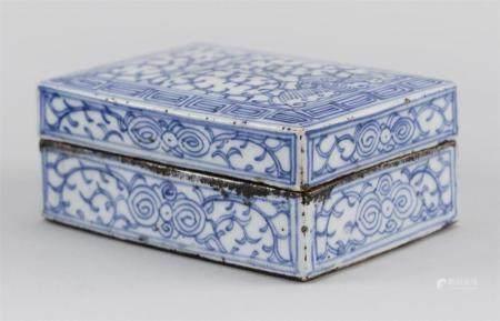 CHINESE BLUE AND WHITE PORCELAIN SEAL PASTE BOX Rectangular,
