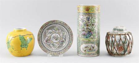 FOUR PIECES OF CHINESE PORCELAIN 1) Cylindrical famille rose