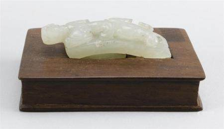 CHINESE WHITE JADE CARVING Relief dragon design. Modified fr