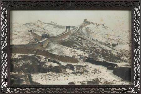 CHINESE HAND-COLORED PHOTOGRAPH Depicts the Great Wall of Ch