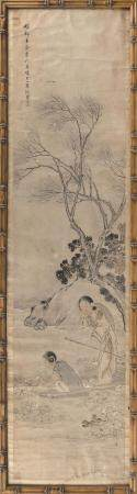 CHINESE PAINTING ON PAPER Depicts two ladies gathering lotus