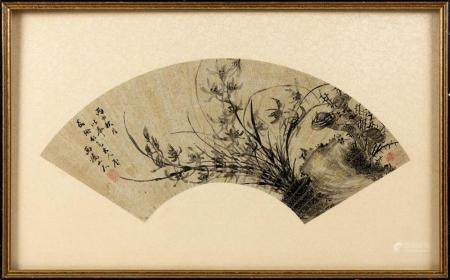 CHINESE FAN PAINTING BY XI QIAO SHAN RAN Depicts orchids and