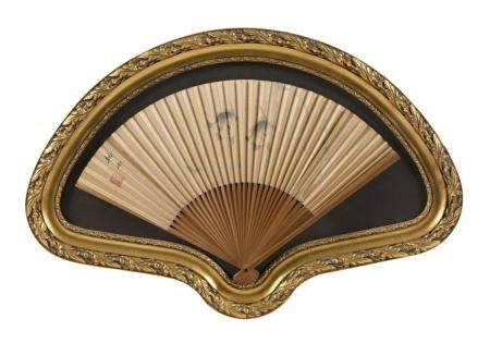 PAINTED CHINESE FAN Depicts two fish and sea grasses. Length