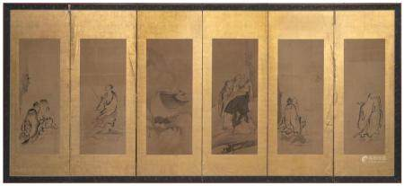 JAPANESE SIX-PANEL SCREEN MOUNTED WITH PAINTINGS ON PAPER Pa