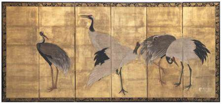 JAPANESE SIX-PANEL SCREEN Depicts cranes against a gold grou