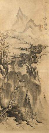JAPANESE SCROLL PAINTING ON PAPER Depicts sages on a cliffsi