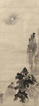 JAPANESE SCROLL PAINTING ON PAPER IN THE MANNER OF SESSHU De