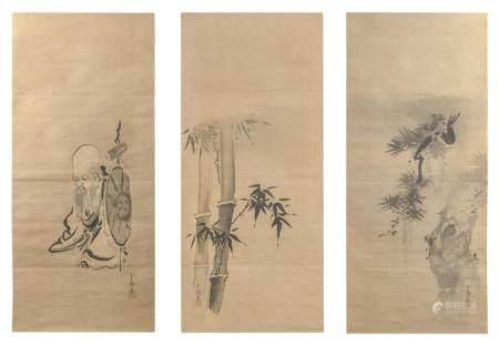 SET OF THREE JAPANESE SCROLL PAINTINGS ON SILK BY KANO YOSHI
