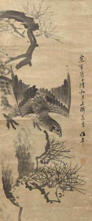 JAPANESE KANO SCHOOL SCROLL PAINTING ON PAPER Depicts a hawk