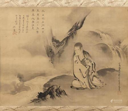JAPANESE SCROLL PAINTING ON SILK BY KANO TANSHIN MORIMICHI (