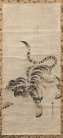 JAPANESE SCROLL PAINTING ON PAPER ATTRIBUTED TO KISHI GANKU