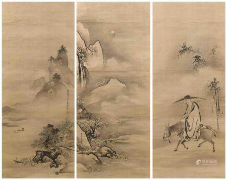 SET OF THREE JAPANESE SCROLL PAINTINGS ON SILK BY KANO TANYU