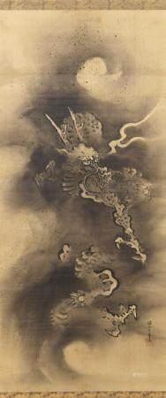 PAIR OF JAPANESE SCROLL PAINTINGS ON SILK BY KANO MASANOBU (