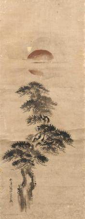 JAPANESE SCROLL PAINTING ON PAPER BY YAMAGI TANGU Depicts pi