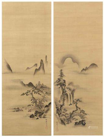 PAIR OF JAPANESE SCROLL PAINTINGS ON SILK BY KANO TANYU One