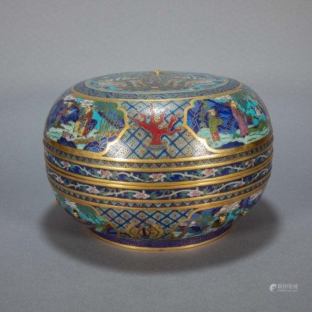 ANCIENT CHINESE COPPER ENAMEL COLOR LID BOX