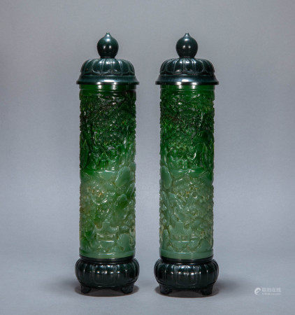 A PAIR OF ANCIENT CHINESE HETIAN GREEN JADE INCENSE TUBE