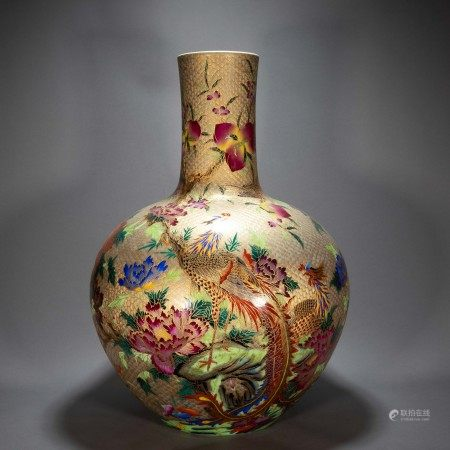 ANCIENT CHINESE FAMILLE ROSE CELESTIAL BOTTLE