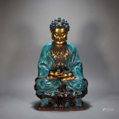 ANCIENT CHINESE BLUE GLAZED BUDDHA STATUE WITH GOLD OUTLINE