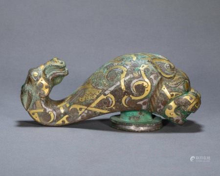 ANCIENT CHINESE BRONZE TIGER HEAD BELT HOOK INLAID GOLD