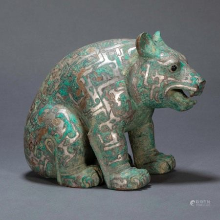 ANCIENT CHINESE BRONZE INLAID SILVER BEAR