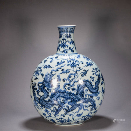 ANCIENT CHINESE BLUE AND WHITE DRAGON PATTERN FLAT BOTTLE