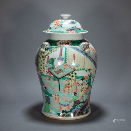 ANCIENT CHINESE FAMILLE ROSE GENERAL JAR