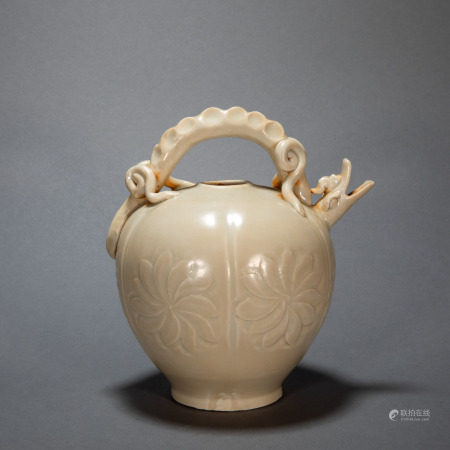 ANCIENT CHINESE DING KILN DRAGON-SHAPED MOUTH POT