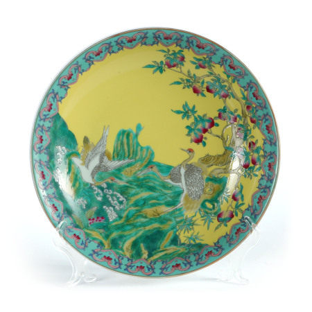 Qing Dynasty - Colored Plate with Longevity Peach
