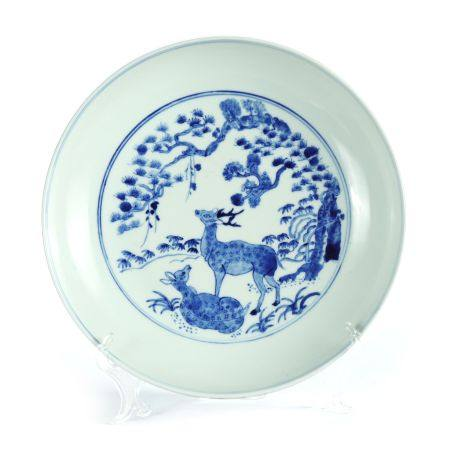 Qing Dynasty - Blue and White Porcelain Plate with Deer